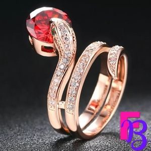 18K Rose Gold Ruby Python Ring